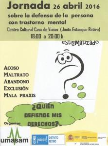 Cartel de la Jornada sobre la defensa de la persona con problemas de salud mental
