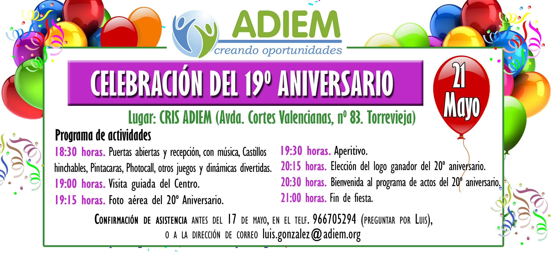 Invitación 19º Aniversario ADIEM