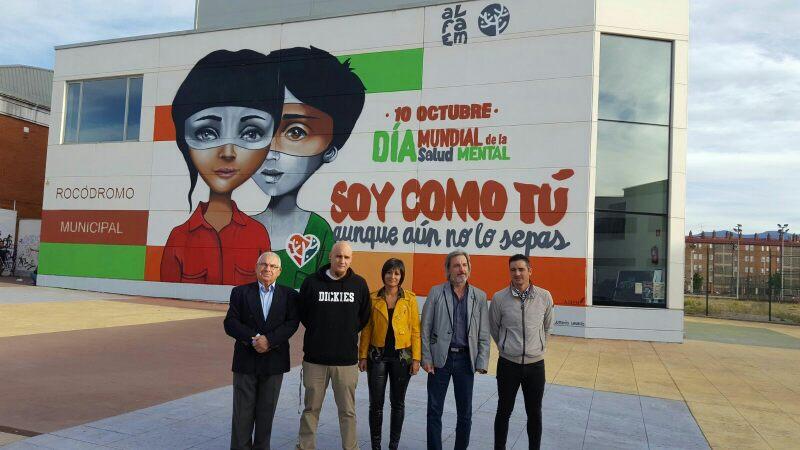 Graffitti de ALFAEM con la imagen del Día Mundial de la Salud Mental