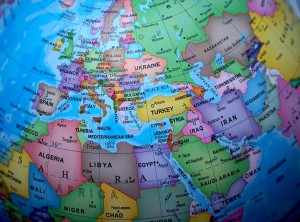 Europa en un globo terráqueo