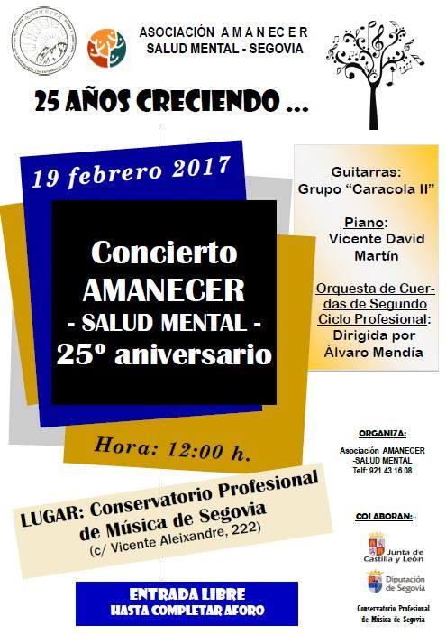 cartel concierto 25 aniversario asociación Amanecer Salud Mental