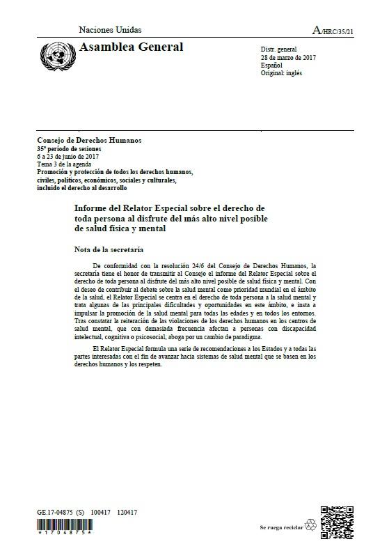 Portada Informe relator salud fisica mental