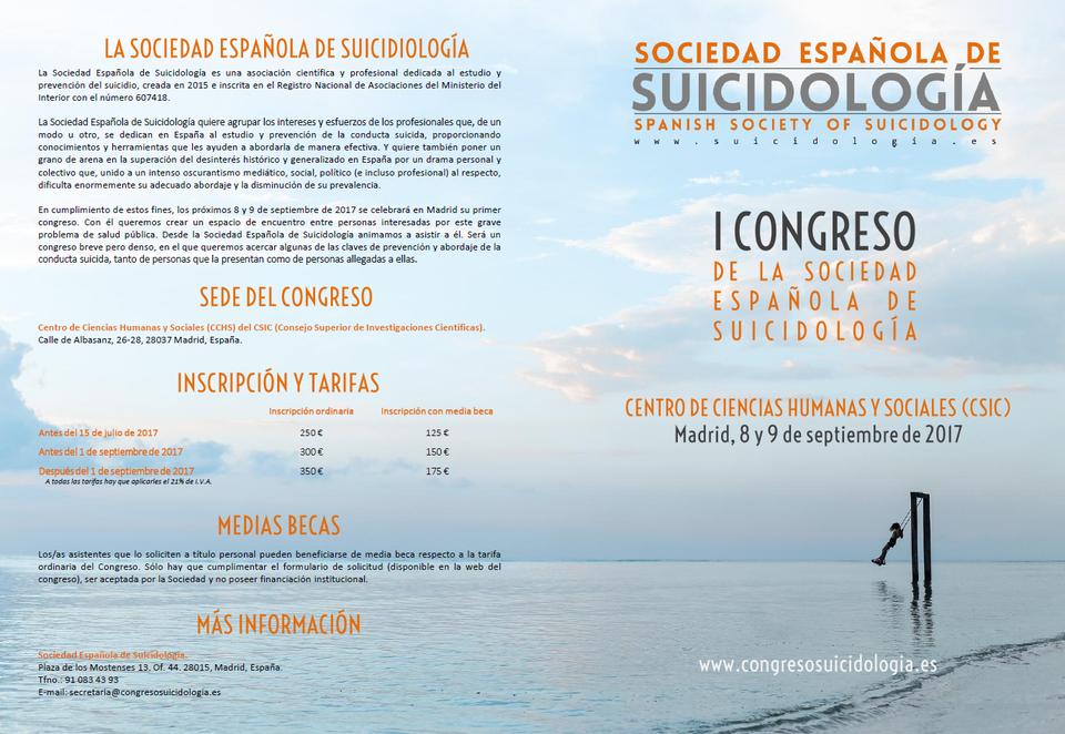 Imagen del programa del I Congreso de la Sociedad Española de Suicidología