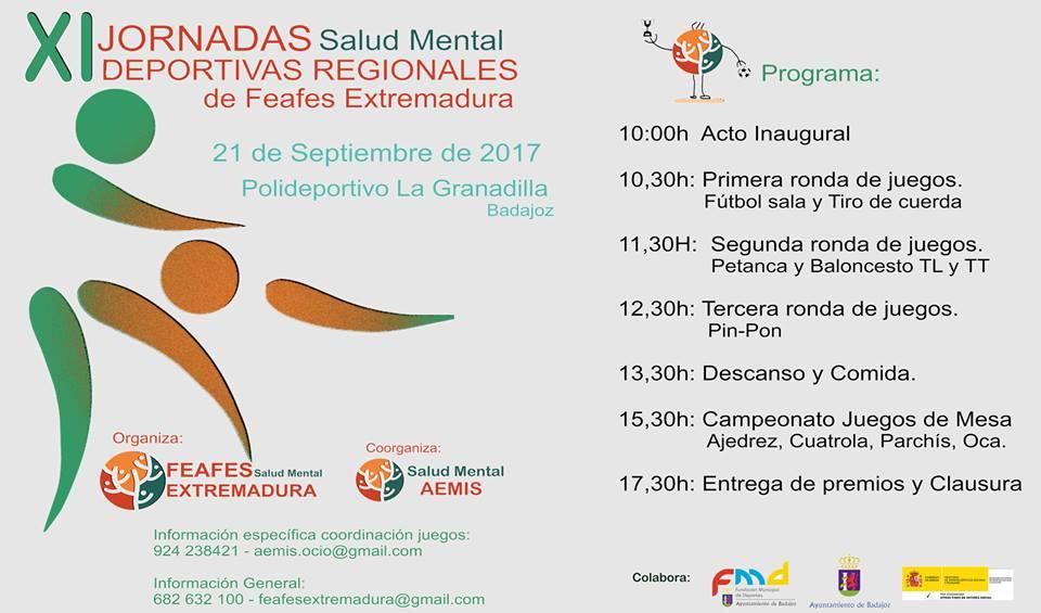 Programa XI Jornadas Regionales Deportivas FEAFES Salud Mental Extremadura 2017