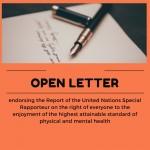 carta abierta de Mental Health Europe de apoyo al informe del Relator de las Naciones Unidas sobre el derecho de toda persona al disfrute del más alto nivel posible de salud física y mental.