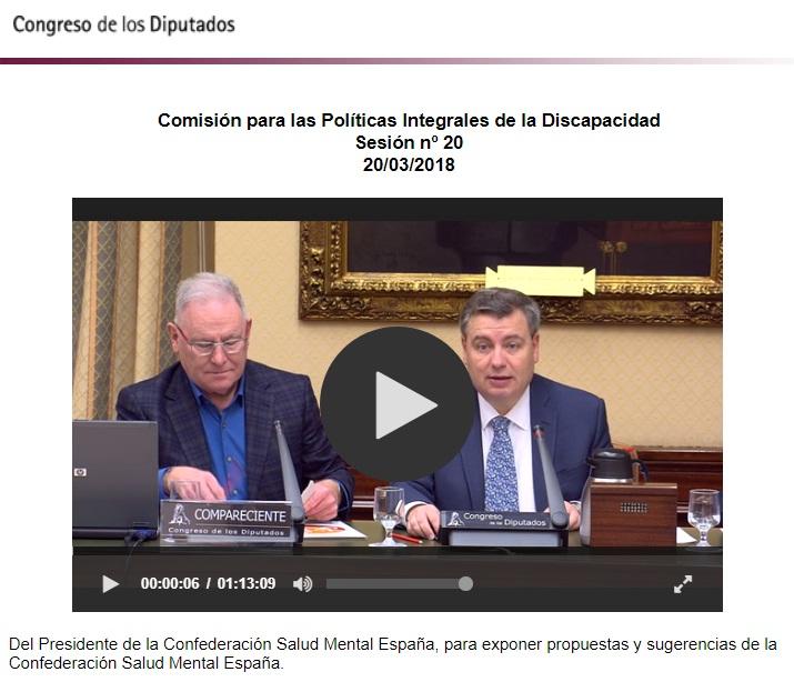 SALUD MENTAL ESPAÑA en la Comisión Políticas Integrales de la Discapacidad del Congreso de los Diputados 2018
