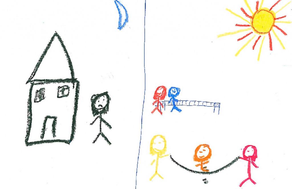 Dibujo de una de las niñas participantes, a quien se le pidió que dibujara cómo se sentía antes y después del taller.