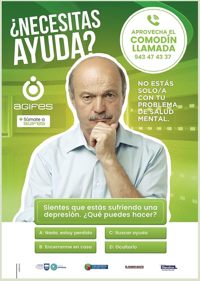 Comodín de la llamada, uno de los carteles de la campaña de AGIFES sobre la depresión