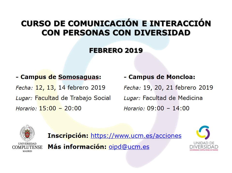 Curso de comunicación e interacción con personas con diversidad febrero 2019