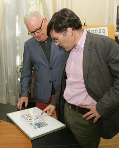 Nel González y Alberto Durán durante la presentación del cupón