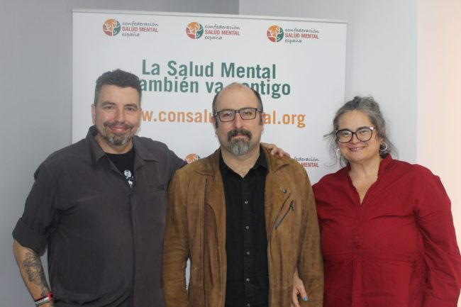 Basilio García Copín, en el centro, junto a José Luis Herrera y María Isabel García Peña.